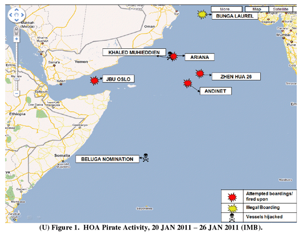 Horn of Africa Pirate Activity, week of 20 Jan 2011