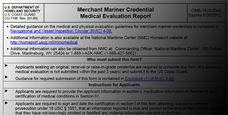 Merchant Mariner Credential Medical Evaluation Report