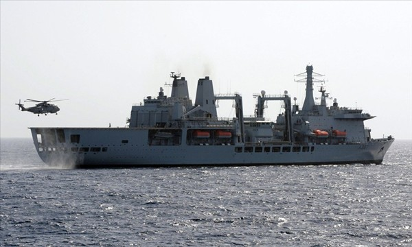 Royal Navy Fort Victoria support ship
