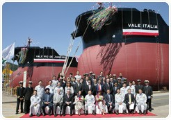 On Friday, Vale SA held naming ceremonies at DSME for its two new VLOCs, the Vale Rio de Janeiro, delivered today, and the Vale Italia, to be delivered in October.  Photo courtesy Vale