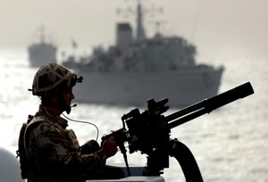 maritime security mini-gun royal navy ship