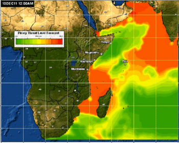Likelihood of Pirate Activity through Dec. 14.  Click map for piracy forecast