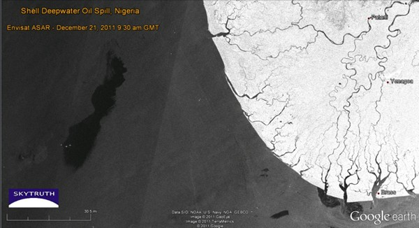 shell nigeria oil spill satellite image