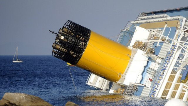 Costa Concordia funnel stack grounding sinking