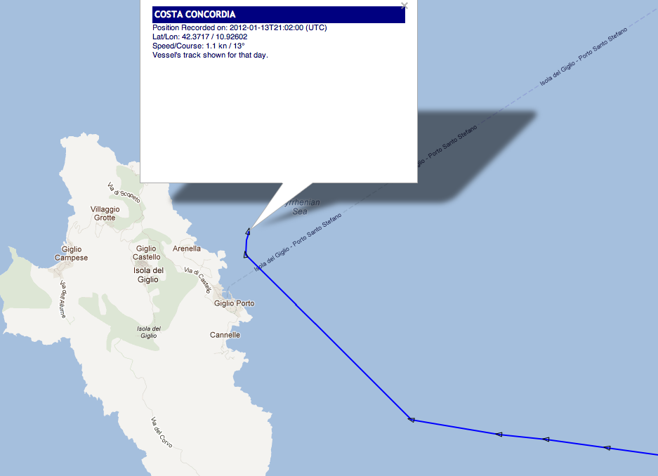 Costa Concordia AIS track