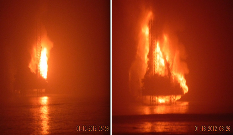 KS Endevour on fire offshore Nigeria. Photo: Chevron