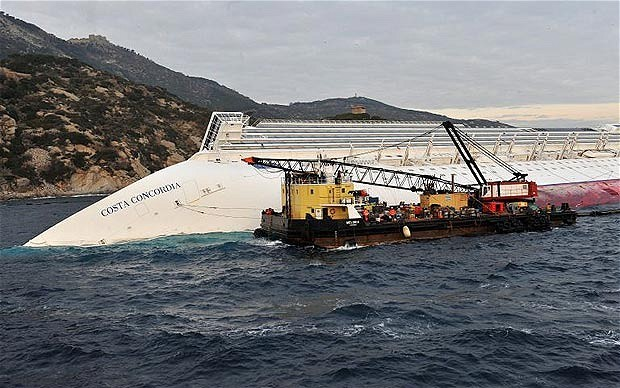 Working crane barge 'Meloria' alongside the Costa Concordia