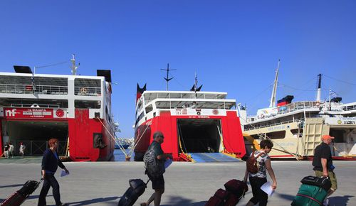 greek ferries dock passengers luggage