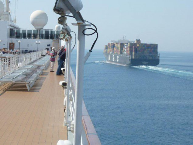 MSC cruise ship Lirica NEar Miss