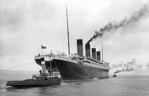The R.M.S. Titanic leaving Belfast on April 2, 1912, twelve days before she would hit an iceberg.