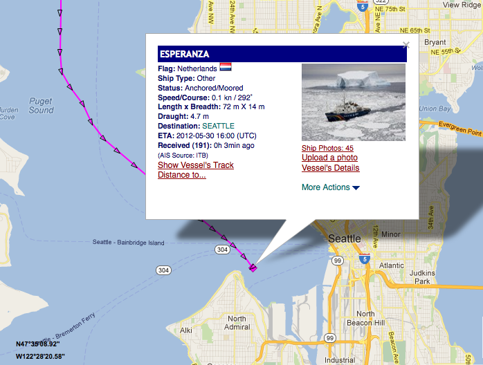 AIS data of Greenpeace's Esperanza ice-class protest ship arrived in Seattle Wednesday.  Coincidence?