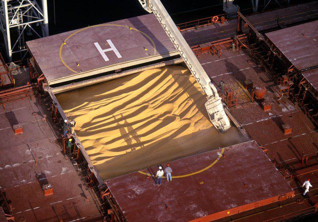 Bulk Ship Loading Grain, Image by the Port Of Seattle