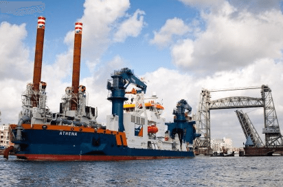 Van Oord's self-propelled cutter suction dredger, Athena. Photo: Van Oord