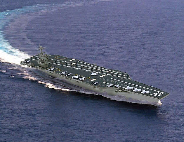 An illustration depicting the USS Gerald R. Ford (CVN-78), the first in a series of six aircraft carriers