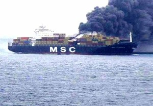 The MSC Flaminia ablaze in the mid-Atlantic. Image via Tradewinds