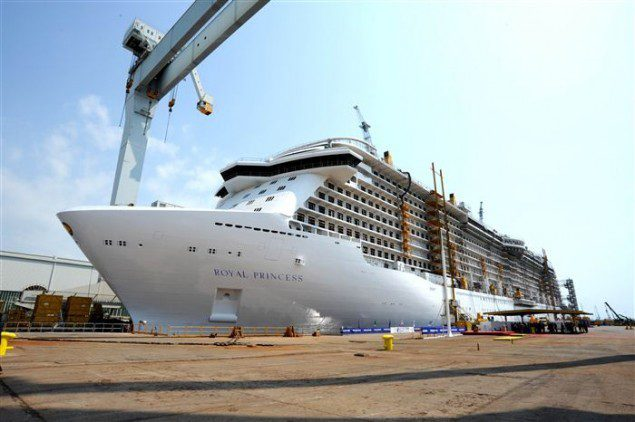 The Royal Princess under construction at Fincantieri&#039;s Manfalcone shipyard. Photo: Fincantieri