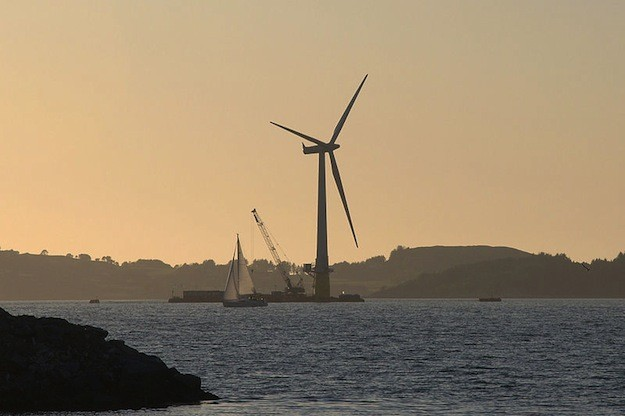 The world's first full-scale floating wind turbine, Hywind, being assembled in the Åmøy Fjord near Stavanger, Norway in 2009, before deployment in the North Sea. Photo: Wikimedia Commons