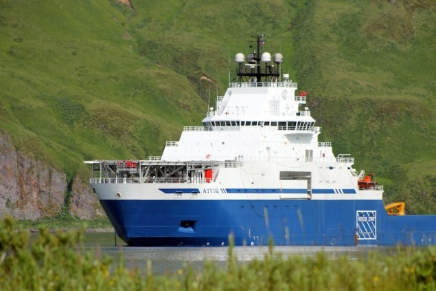 Shell's $200 million M/V Aiviq. The brand new AHTS sat in Dutch Harbor for nearly a month, along with the rest of Shell's drilling and support flotilla, before starting to trickle their way up north in early August. Image: