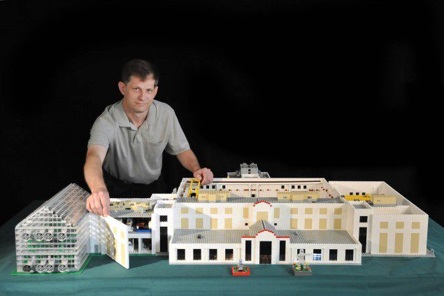 William Adams of Code 5515 creates model of NAVY LASR building from legos.