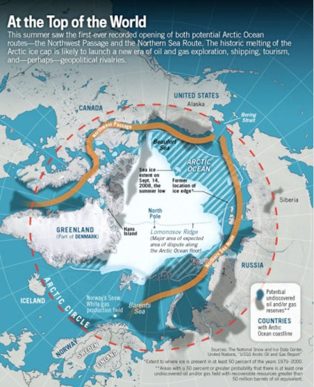 arctic northern sea route northwest passage map