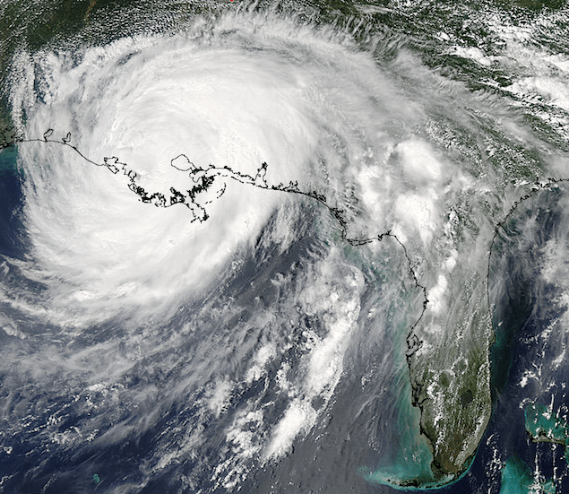 This visible true color image of Hurricane Isaac was taken by the Moderate Resolution Imaging Spectroradiometer (MODIS) instrument onboard NASA's Aqua satellite on Aug. 29 at 2:50 p.m. EDT after it had made its second landfall.