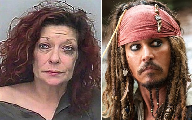 Alison Whelan and Captain jack Sparrow Photo: SWNS