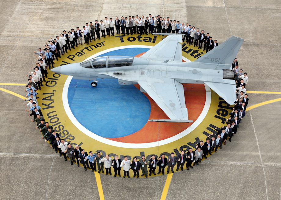 "On September 7, Korea Aerospace Industries Ltd. held a ceremony to celebrate the 10th anniversary of the first flight of its ""T-50"" design at its headquarters in Sacheon. Photo: Korea Aerospace Industries Ltd."