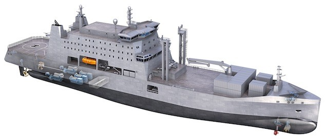 One of the Rolls-Royce designs includes a replenishment ship for refueling and supplying naval fleets and is available in the 9,000 to 25,000 deadweight tonne range. The design is based on the Rolls-Royce Environship concept, featuring a wave piercing bow and hybrid electric propulsion system which increases operation efficiency while reducing fuel consumption. Image: Rolls-Royce