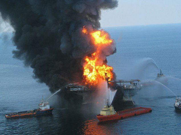 Deepwater Horizon in flames on April 21, 2010 after the explosion.