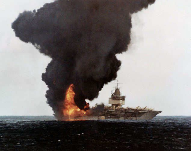 uss enterprise on fire 1969