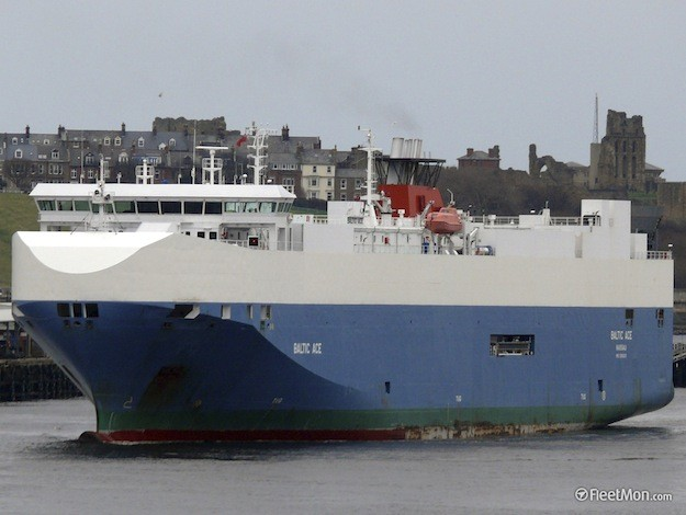 he Baltic Ace car carrier, sailing under a Bahamas flag, is seen in this undated handout photo released to Reuters by FleetMon.com December 6, 2012. REUTERS/Ian Johnston/FleetMon.com/Handout