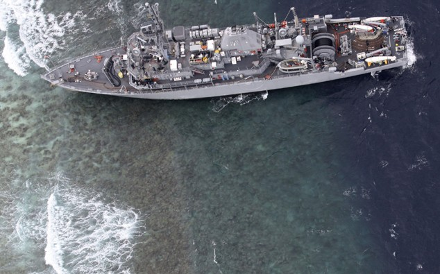 uss guardian philippines aground reef