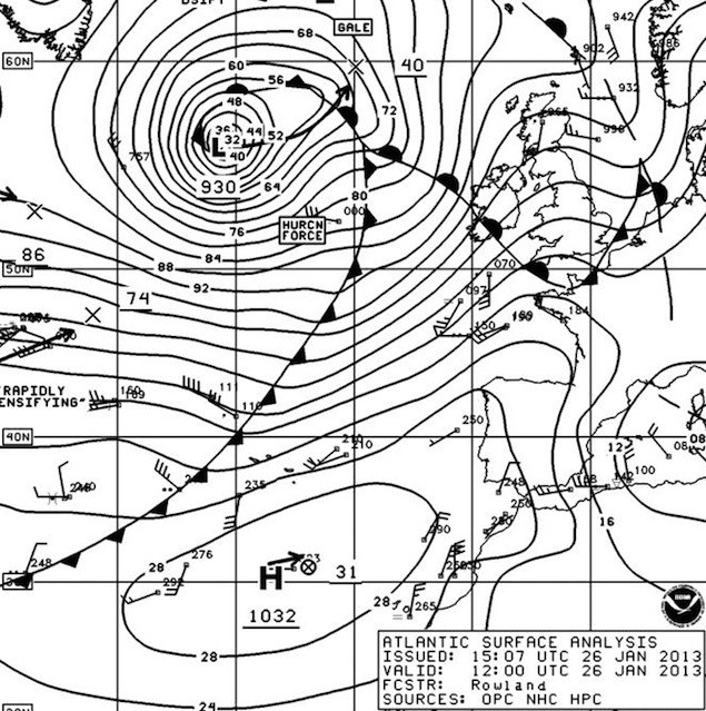 NOAA OPC Surface Analysis 12Z 26 January 2013 showing 930 mb hurricane force storm low.