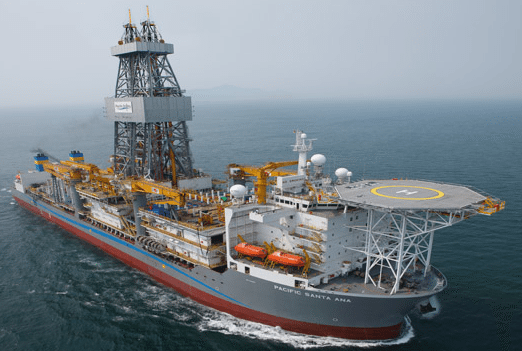 Pacific Drilling's newest drillship, the Pacific Santa Ana, commenced  its 5 year contract with a Chevron subsidiary on March 21, 2012, and began operations in the U.S. Gulf of Mexico on May 4, 2012. Photo: Pacific Drilling