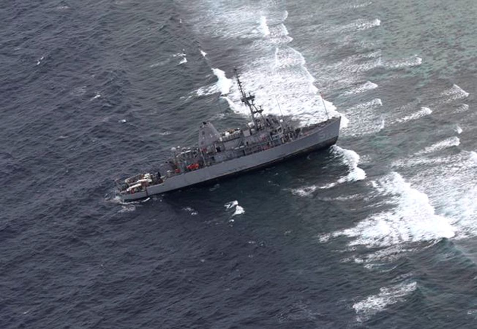 USS Guardian philippines aground