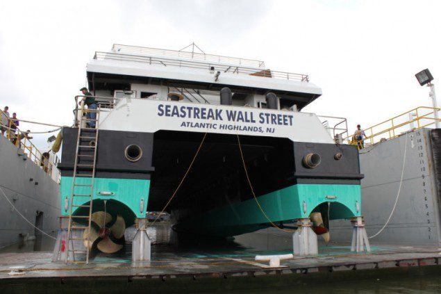 In August 2012, Incat Crowther completed a re-fit a re-fit of the Seastreak Wall Street, installing new engines and new controllable pitch propellers. Photo: Incat Crowther