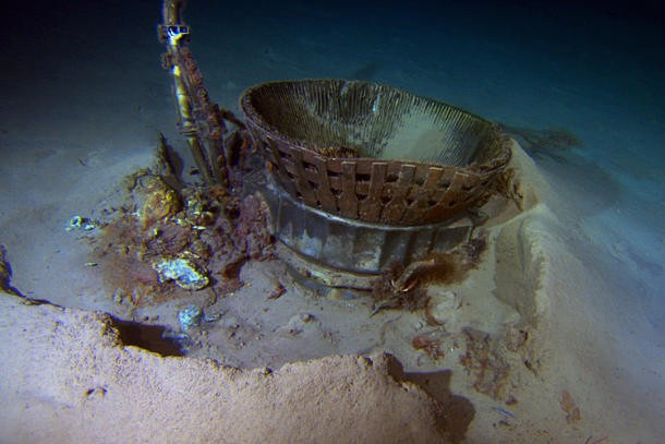 The thrust chamber from the Apollo 11 mission, found on the Atlantic Ocean floor by Bezos Expeditions.