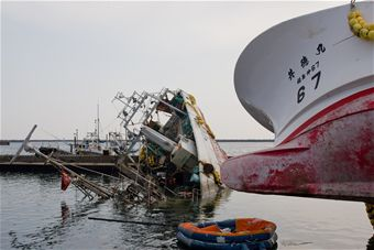 Japanese ship Damaged