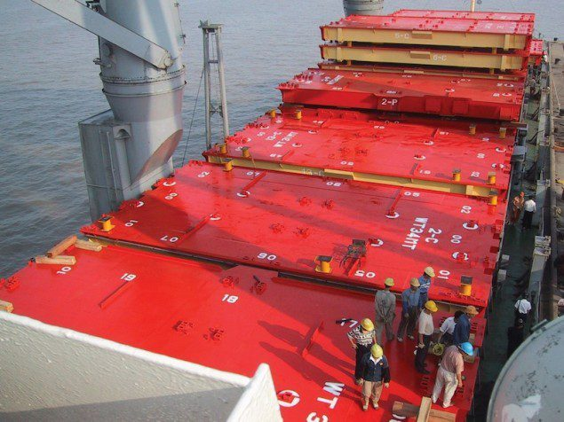 Cargotec lift-away hatch covers. Photo: Cargotec