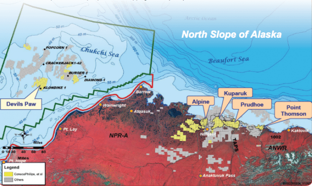 ConocoPhillips proposed exploratory drilling program, presented during NOAAs annual Arctic Open Water Meeting, will focus on the Devils Paw prospect located 80 miles offshore in the shallow waters of Chukchi Sea, Alaska.
