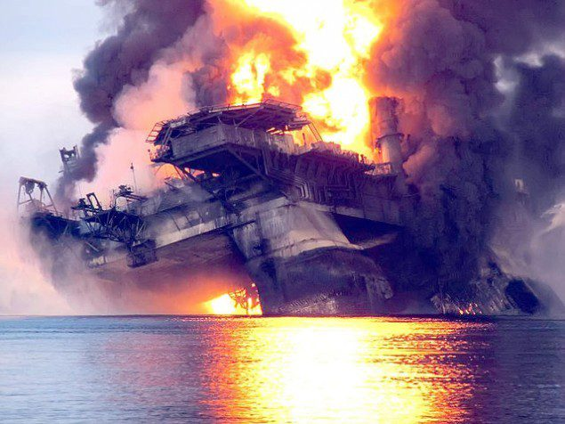 Deepwater Horizon on fire in the Gulf of Mexico, April 21, 2010. File photo.