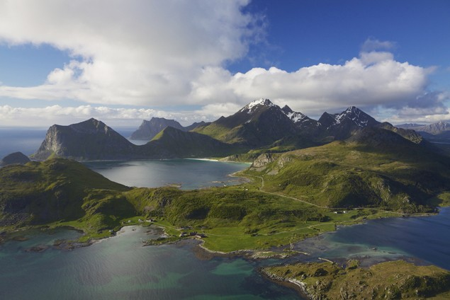 lofoten islands norway aerial scenic landscape