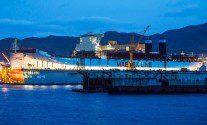 Triple-E class vessel at DSME shipyard Night Photo by Thorbjørn Hansen, Maersk