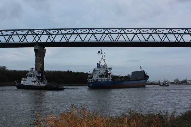 MV Siderfly under tow in the Kiel Canal, November 6, 2013. Image courtesy CCME